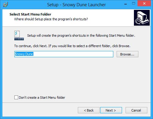 Select start menu folder window