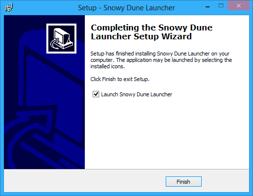 Completing setup wizard window