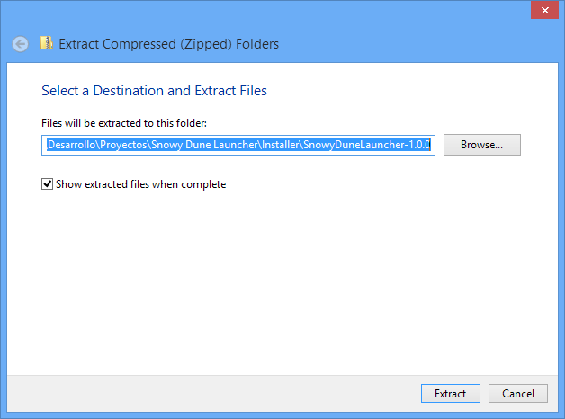 Select a destination and extract files window