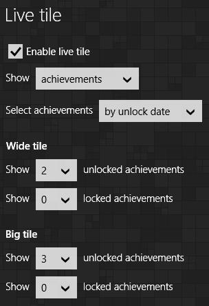 Live tile settings