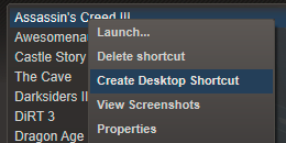 Create desktop shortcut option in Steam client
